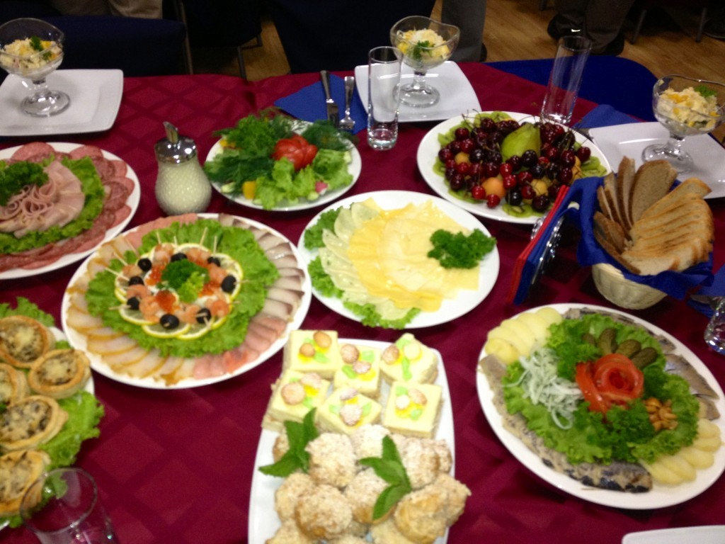"""This was the """"breakfast"""" that awaited us before the launch. So much food!"""