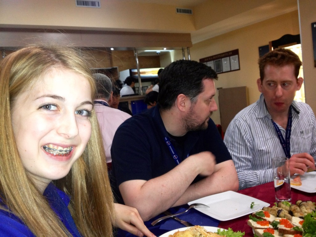 Here I am at the pre-launch breakfast. Sitting next to me is ESA flight surgeon Ben Douglas and Londoner Peter Brogden.