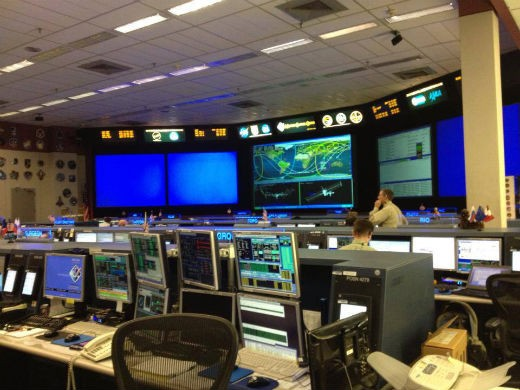 Inside the Mission Control Room at JSC.