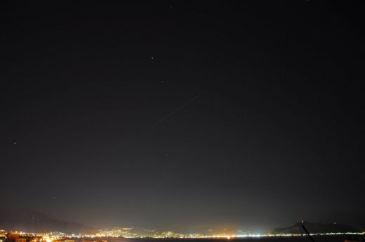 """""""ISS over the Gulf of Palermo, Sicily (IT) on April 8, 2013 Photo taken with Nikon D90; exposure time: 30 seconds; focal length: 18 mm"""" - Angelo Cirello"""