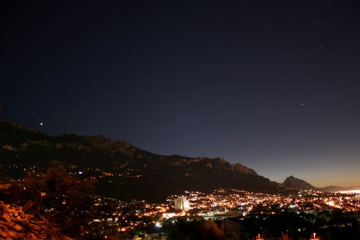 """""""30 sec single shot with lens at 18 mm with f/3.5 taken from Monterrey, Mexico. The ISS was coming from the Southwest over the Sierra Madre Oriental. It came between Venus and the moon. Awesome view!"""" - Rodrigo on October 7, 2013"""