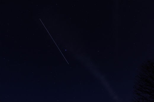 """""""Taken from Backyard in Chilliwack B.C. Canada Luca and companions playing the Lyre (harp) ISS passing through the constellation Lyra Canon T3i 25 sec. exposure 18mm focal length f3.5 ISO 100 This might be the last time I can get Luca`s pic while he is on the ISS  He may be back home by the time the station passes by us at the right time to get another."""" - Bill"""