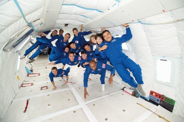 astronauts in training