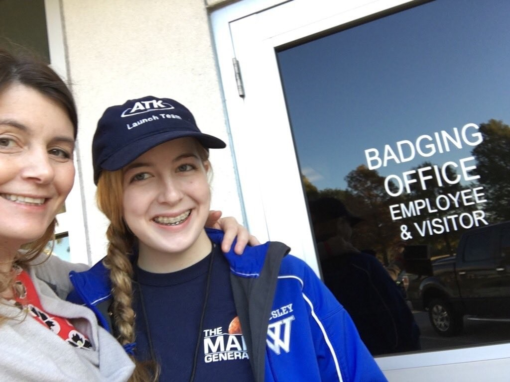 Astronaut Abby and Mom Badging The Martian