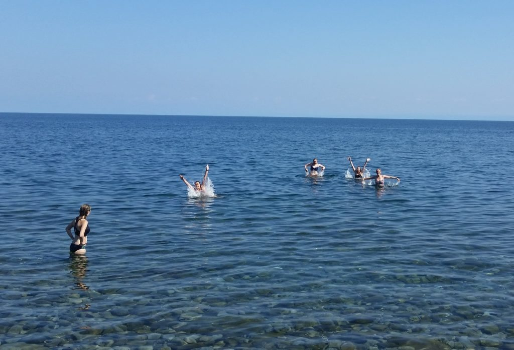 Dip in the lake after hiking Photo credit: Wellesley Baikal Research Team